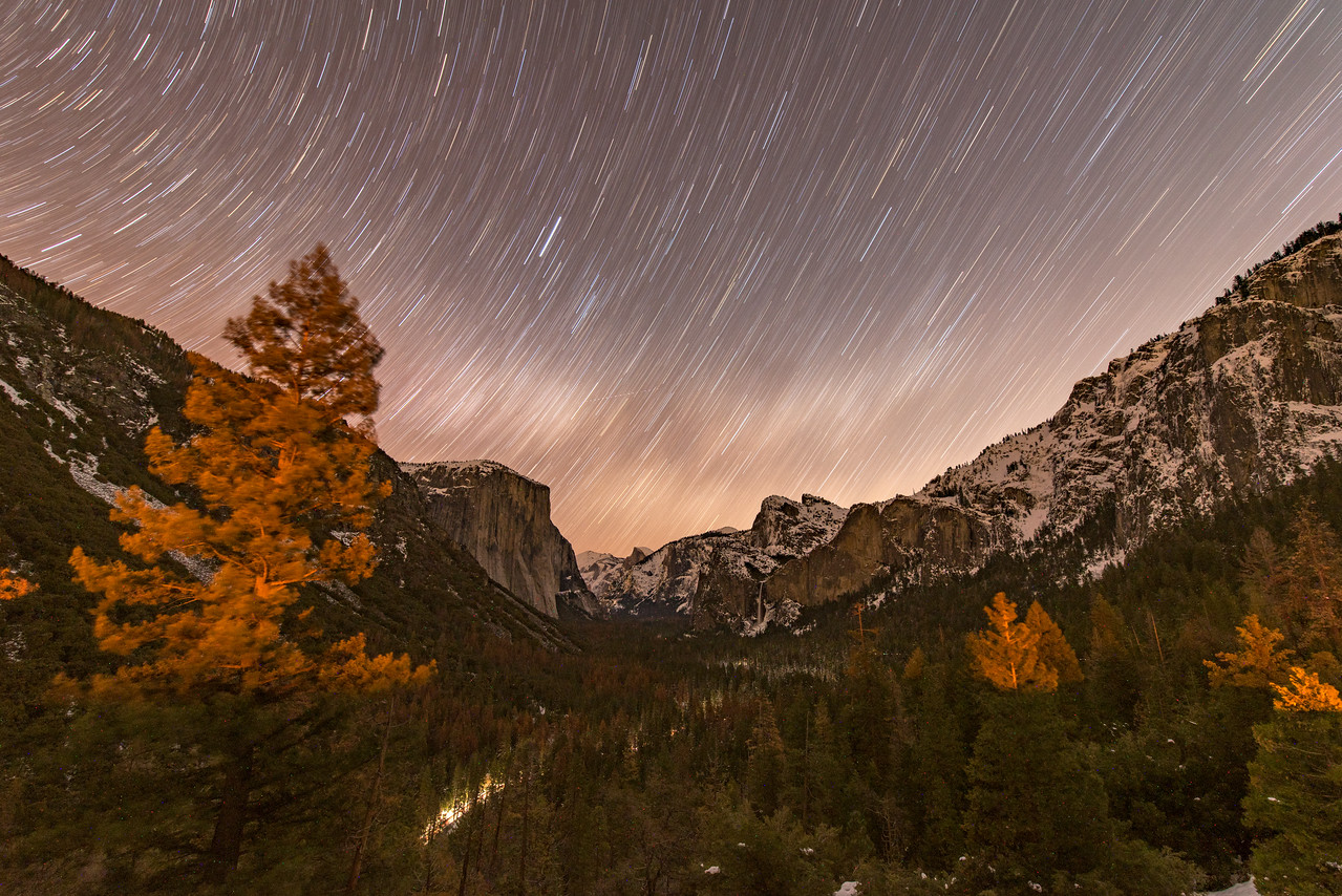 Yosemite Valley Star Trails from Tunnel View