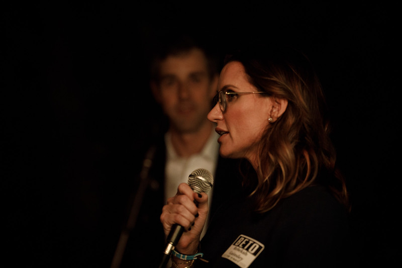 Beto for Texas fundraiser host Rebekah Gainsley with Beto O'Roarke.