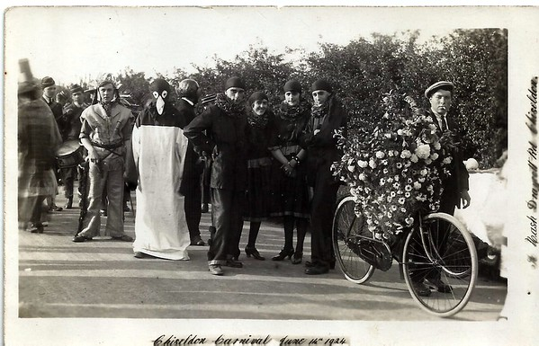 Ernest Cox won 1st prize for his decorated bycycle 1924