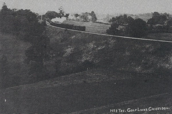 Number 1 tee off with a Swindon bound train in the background 1920`s
