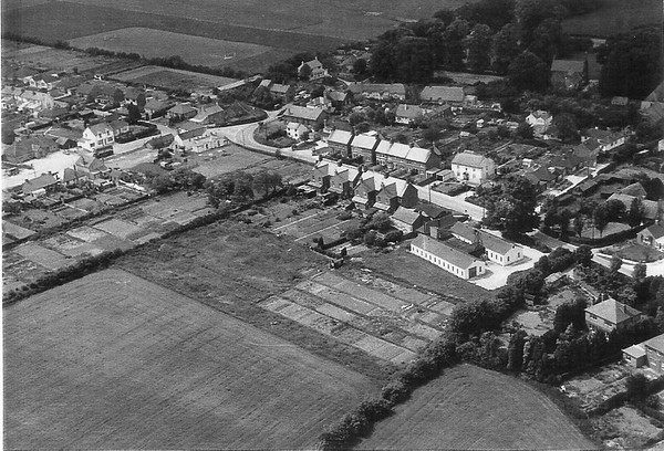 Aerial view showing the Infants school and the cooking centre..if you look closely you can see Canters shop with a double decker bus nearby.1960`s