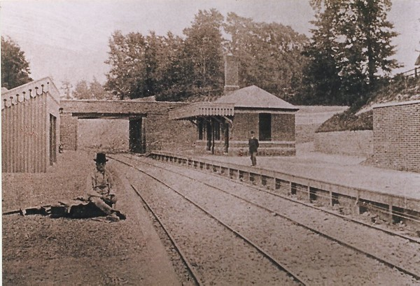 Grand Opening day with Station Master and photographer 1881