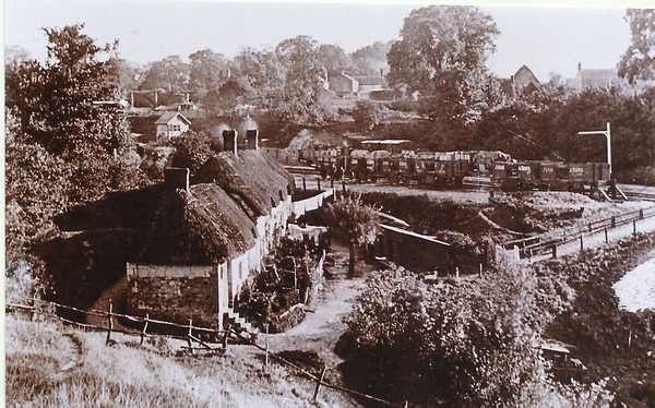 Station view from Strouds Hill.Cottages were demolished 1960`s