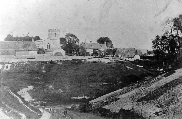 Church and Parsonage with the windmill pre-railway 1870