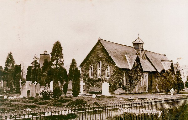 Chiseldon cemetery showing the windmill tower 1915