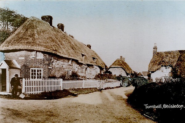 Mr Cannings outside Toll House cottage ..the cottage far right was destroyed by fire 1930`s