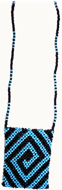 Quarter Bag - black & baby blue seedbeads 14/0