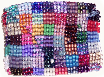 Patchwork Dollar Bag - variety seedbeads 11/0