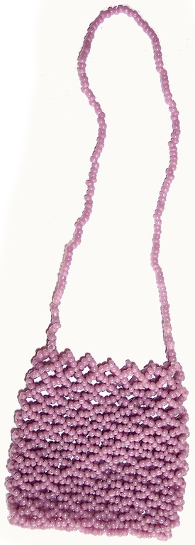 Quarter bag, short chain - mauve seedbeads - 14/0