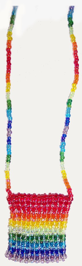 Quarter Bag - rainbow iridescent seedbeads; 11/0