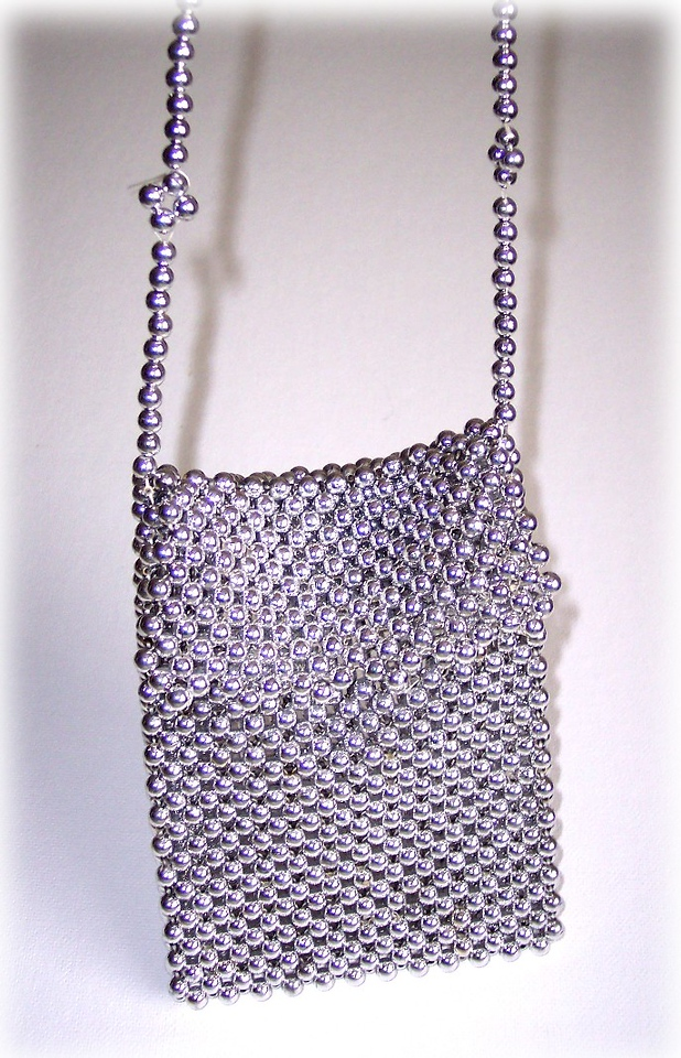 Silver Ball Purse - Silver coated plastic beads & Floss - est. 6X8 inches