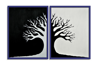 """Winter Tree"" - Acrylic on canvas - 2 X (80 cm x 60 cm) *** SOLD ***"