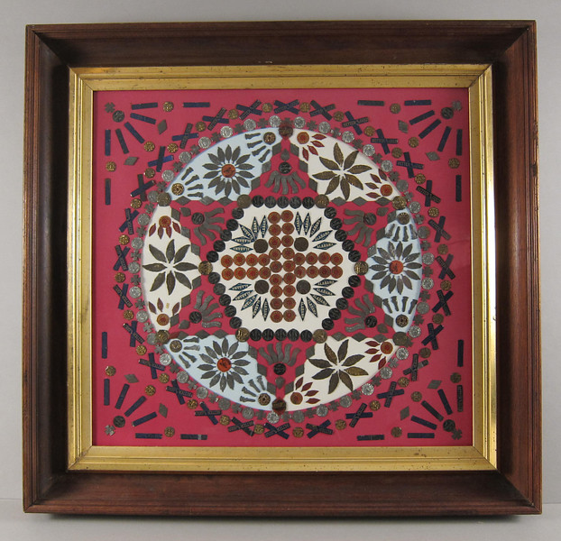 Tobacco tag assemblage.  American, late 19th century.  Ex. coll.  Strong Museum, Rochester, NY.  Original  frame.  31 x 29 in.