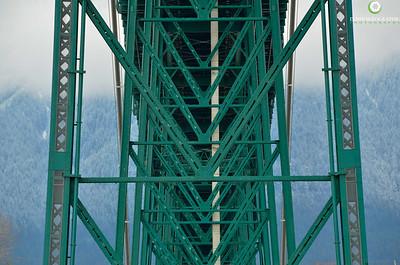 The underside of the Lions Gates Bridge