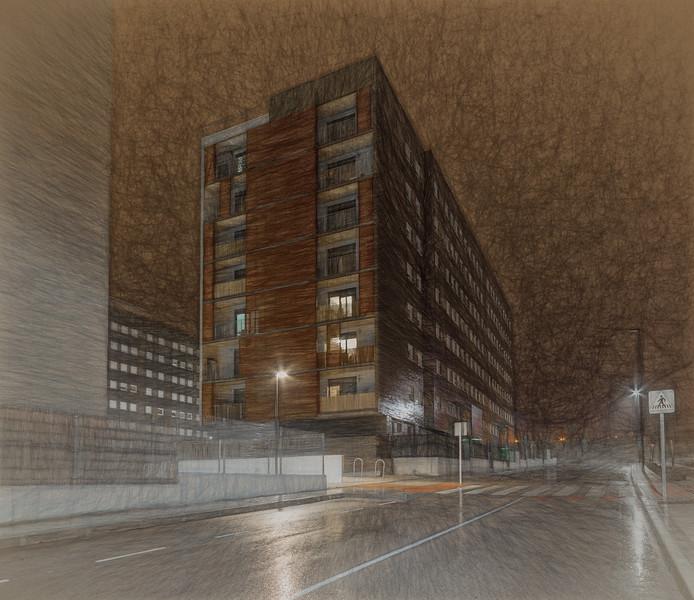 5 de Noviembre de 2014 - llueve en la calle Andalucía. Tres Cantos