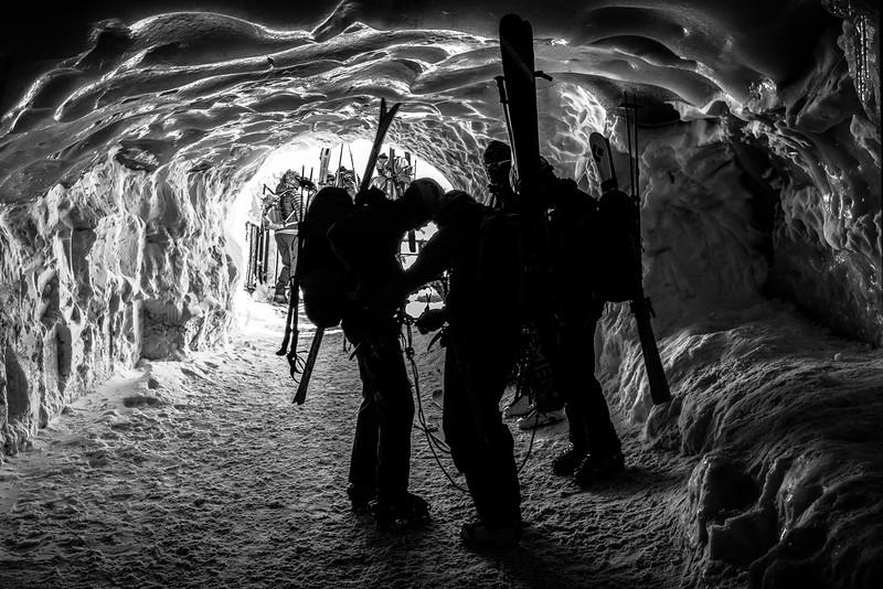Preparando la expedición. L'Aguille du Midi