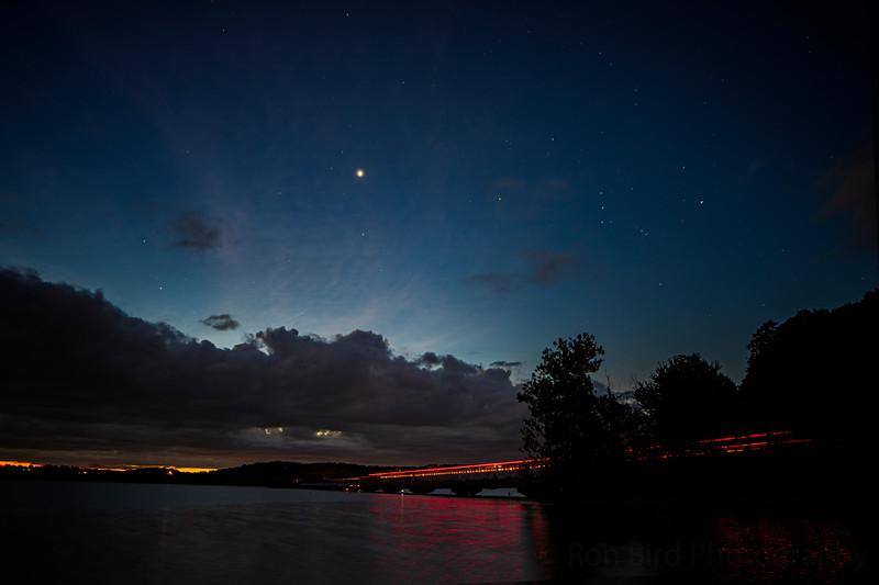 8.12.20 - Venus rising over HWY12 Bridge.