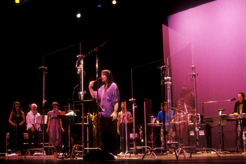 Todd Rundgren and his band performing at the Palace of Fine Arts in San Francisco during the Second Wind live recording sessions in July, 1990.