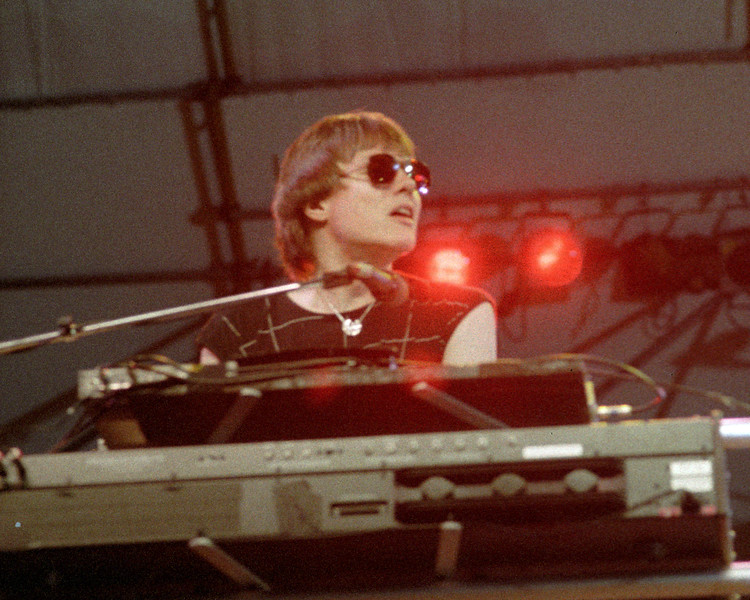 Roger Powell performing with Utopia at Pier 84 in New York City on August 24, 1984.