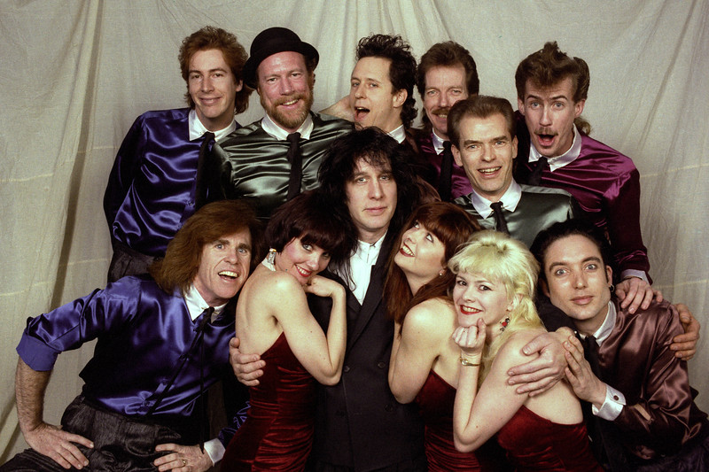 Todd Rundgren posed with his band backstage at the Warfield Theater in San Francisco on March 10, 1990.
