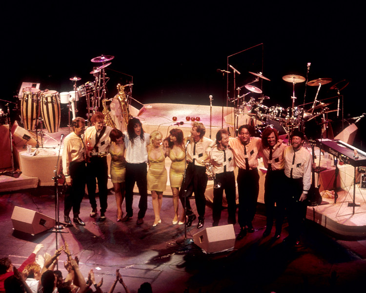 SAN FRANCISCO, CA-MARCH 10: Todd Rundgren and his band during the final bow at the Warield Theater in San Franciso on March 10, 1990. (Photo by Clayton Call/Redferns)