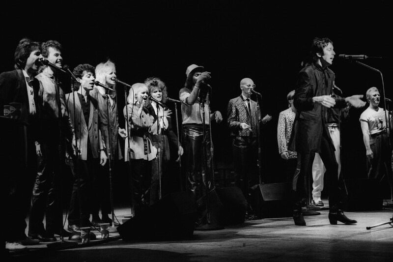 Todd Rundgren and his ensemble performing on the A Cappella tour at the Warfield Theater in San Francisco on November 11, 1985.s