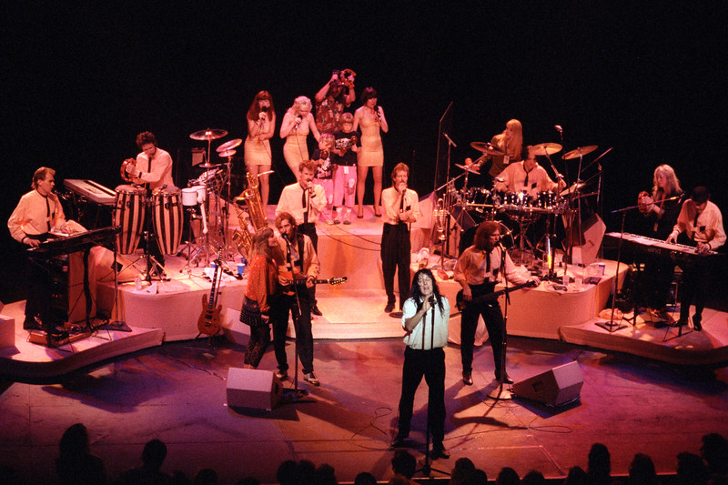 Todd Rundgren and his band performing at the Warfield Theater in San Francisco on March 10, 1990.