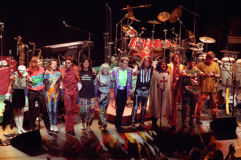 Todd Rundgren and his band on stage at the Warfield Theater in San Francisco on May 10, 1991.