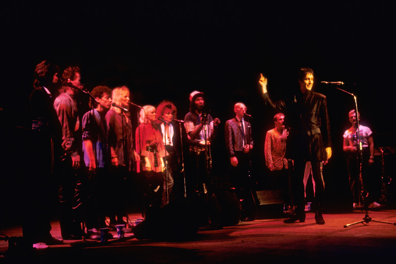 """Todd Rundgren and his ensemble performing on the """"A Cappella"""" tour at the Warfield Theater in San Francisco on November 11, 1985."""