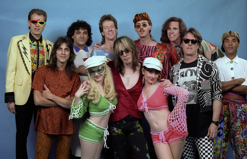 Todd Rundgren and his band posed backstage at the Warfield Theater in San Francisco on May 10, 1991.