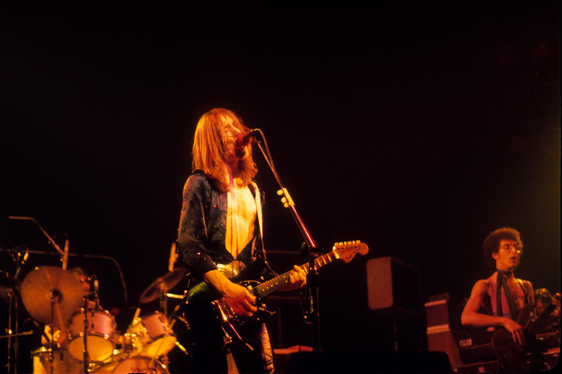 Utopia performing at the Beacon Theater in New York on December 14, 1975. (L-R): Willie Wilcox, Todd Rundgren, John Seigler.