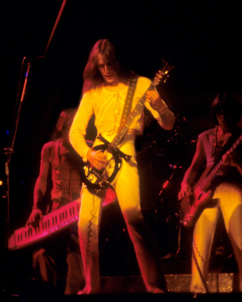 Utopia performing at the San Jose Center for the Performing Arts on March 30, 1977. (L-R): Roger Powell, Todd Rundgren, Kasim Sulton.
