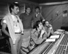 """Todd Rundgren & members of The Tubes listen to playbacks during the recording of """"Love Bomb"""" in 1985. (L-R): Rick Anderson, Roger Steen, Prairie Prince, Todd Rundgren, Vince Welnick."""