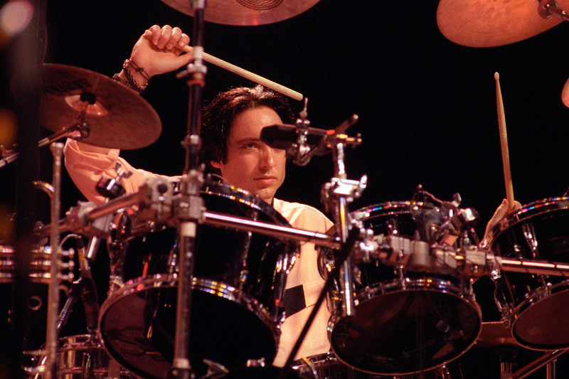 Michael Urbano performing with Todd Rundgren at the Warfiield Theater in  San Francisco on March 10, 1990.