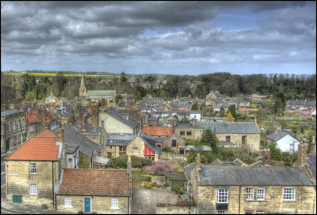 The view over Walkworth from one side of the castle.