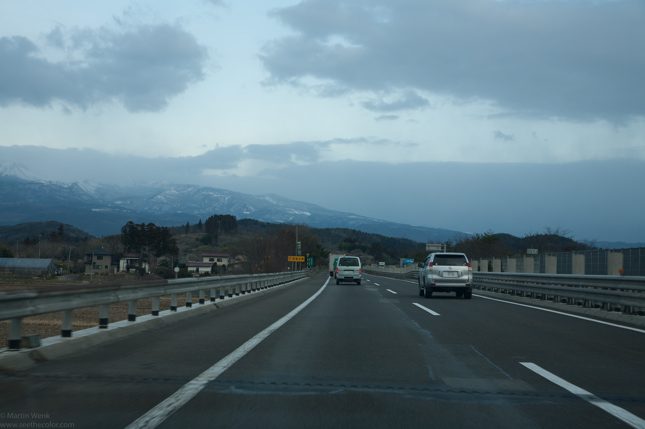 Getting a view of the snow in the mountains and an idea that it is still very cold up here. Sustained traffic on the only functioning traffic axis to the North, in both directions.