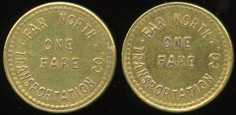 TRANSPORTATION -- Alaska<br /> Lot 5:  FAR NORTH / ONE FARE / TRANSPORTATION CO. // (same), (Nome), br rd 25mm.  AK 650A $125 -- SOLD $132