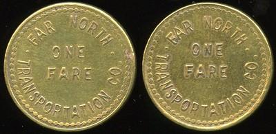 TRANSPORTATION -- Alaska Lot 5:  FAR NORTH / ONE FARE / TRANSPORTATION CO. // (same), (Nome), br rd 25mm.  AK 650A $125 -- SOLD $132