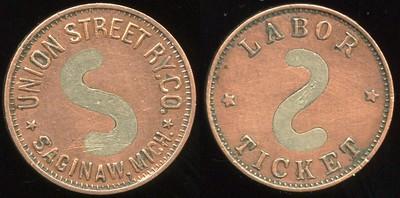 TRANSPORTATION -- Michigan Lot 123:  UNION STREET RY. / CO. / (wm S) / SAGINAW, MICH. // Labor / (S) / Ticket, bimetallic (cu/wm) rd 19mm.  MI 845Cb $75 -- Did Not Sell