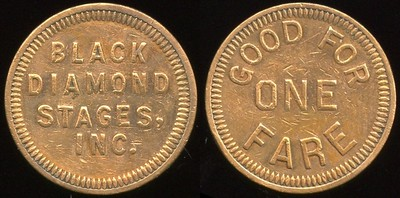 TRANSPORTATION -- Kentucky Lot 91:  BLACK / DIAMOND / STAGES, / INC. // Good For / One / Fare, (Fort Thomas), bz rd 21mm.  KY 270B $75