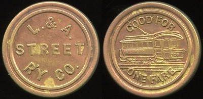 TRANSPORTATION -- Maine Lot 95:  L. & A.  STREET / R'Y CO. // Good For / (streetcar) / One Fare, (Lewiston), br rd 23mm.  ME 480B $100 -- Did Not Sell