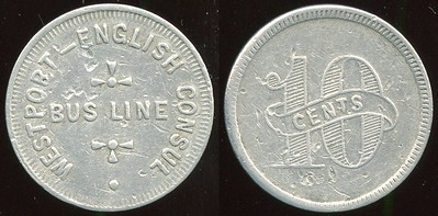 TRANSPORTATION -- Maryland Lot 102:  WESTPORT – ENGLISH CONSUL / BUS LINE // 10 (across: Cents), (Baltimore), al rd 24mm, minor pits.  MD 60S $300 -- SOLD $300