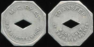 TRANSPORTATION -- Michigan Lot 119:  M.C. RY. CO. / (c/o dd) / MARQUETTE, MICH. // Transfer / (c/o) / Good Only / At Transfer Points., al oc 25mm.  MI 605Ma $75 -- SOLD $91