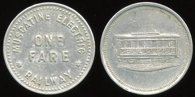 TRANSPORTATION -- Iowa Lot 78:  MUSCATINE ELECTRIC / ONE FARE  / RAILWAY // (street car), al rd 21mm.  IA 640B $75 -- SOLD $75