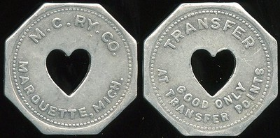 TRANSPORTATION -- Michigan Lot 120:  M.C. RY. CO. / (c/o ht) / MARQUETTE, MICH. // Transfer / (c/o) / Good Only / At Transfer Points., al oc 25mm.  MI 605Oa $75 -- Did Not Sell