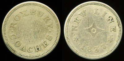 TRANSPORTATION -- Massachusetts Lot 104:  ROXBURY / COACHES // New Line / 1837, (Boston), wm rd 18mm, overall wear.  MA 115A $85, G2 -- SOLD $75