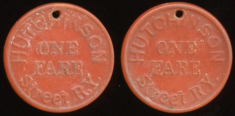 TRANSPORTATION -- Kansas<br /> Lot 85:  HUTCHISON / ONE / FARE / STREET R.Y. // (same), carmine ce rd 23mm, 1mm hole 12:00   KS 450A $100 -- Did Not Sell