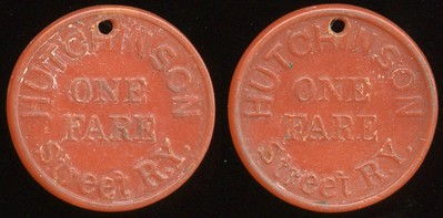 TRANSPORTATION -- Kansas Lot 85:  HUTCHISON / ONE / FARE / STREET R.Y. // (same), carmine ce rd 23mm, 1mm hole 12:00   KS 450A $100 -- Did Not Sell