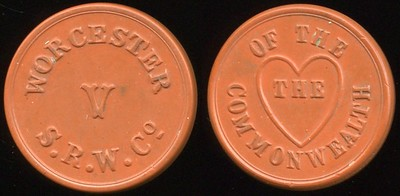 TRANSPORTATION -- Massachusetts Lot 106  WORCESTER / V / S.R.W. CO // Of The / (within heart: The) / Commonwealth, deep red vu rd 23mm.  MA 970B $100 -- Did Not Sell