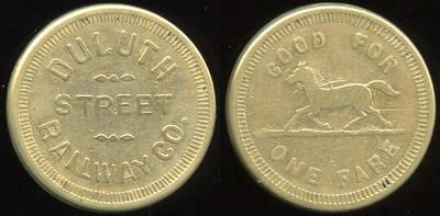 TRANSPORTATION - Minnesota Lot 85:  DULUTH / STREET / RAILWAY CO. // Good For / (running horse) / One Fare, br rd 23mm.  MN 230C $100  MB$100 - No Bid